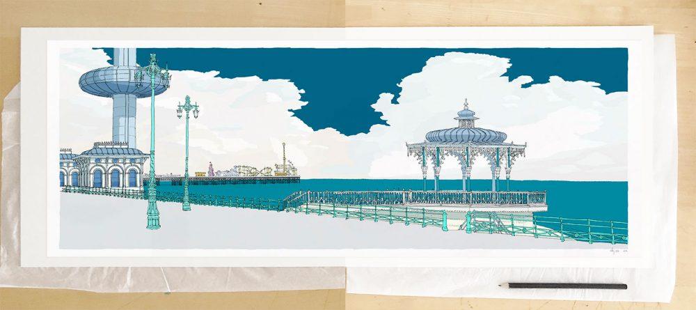 Fine art print by artist alej ez titled I360 Palace Pier Bandstand Ocean Blue