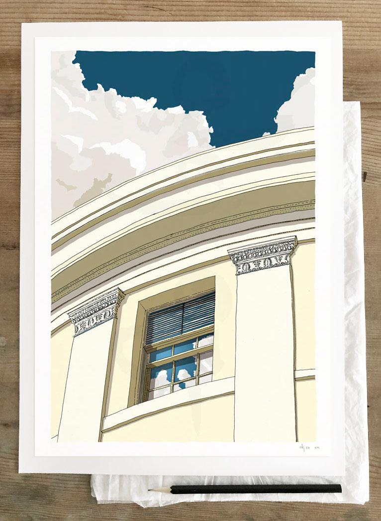 Fine art print by artist alej ez titled Brunswick Square Window Regency Town House