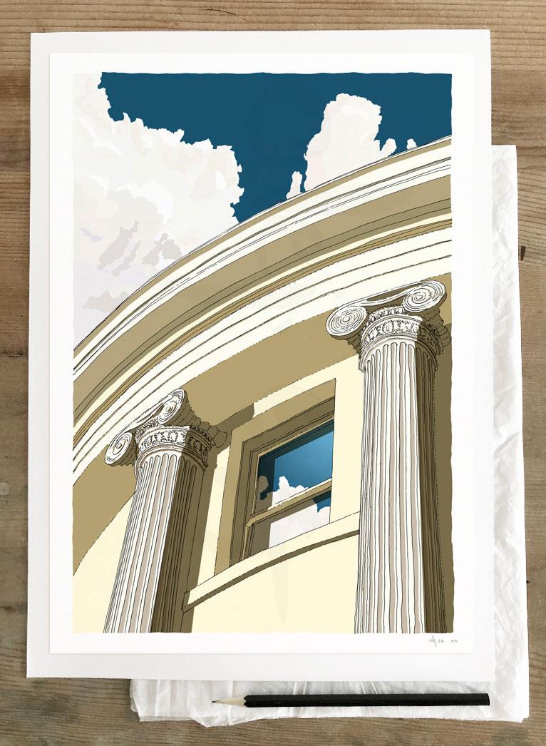 Fine art print by artist alej ez titled Brunswick Square Window Ionic columns