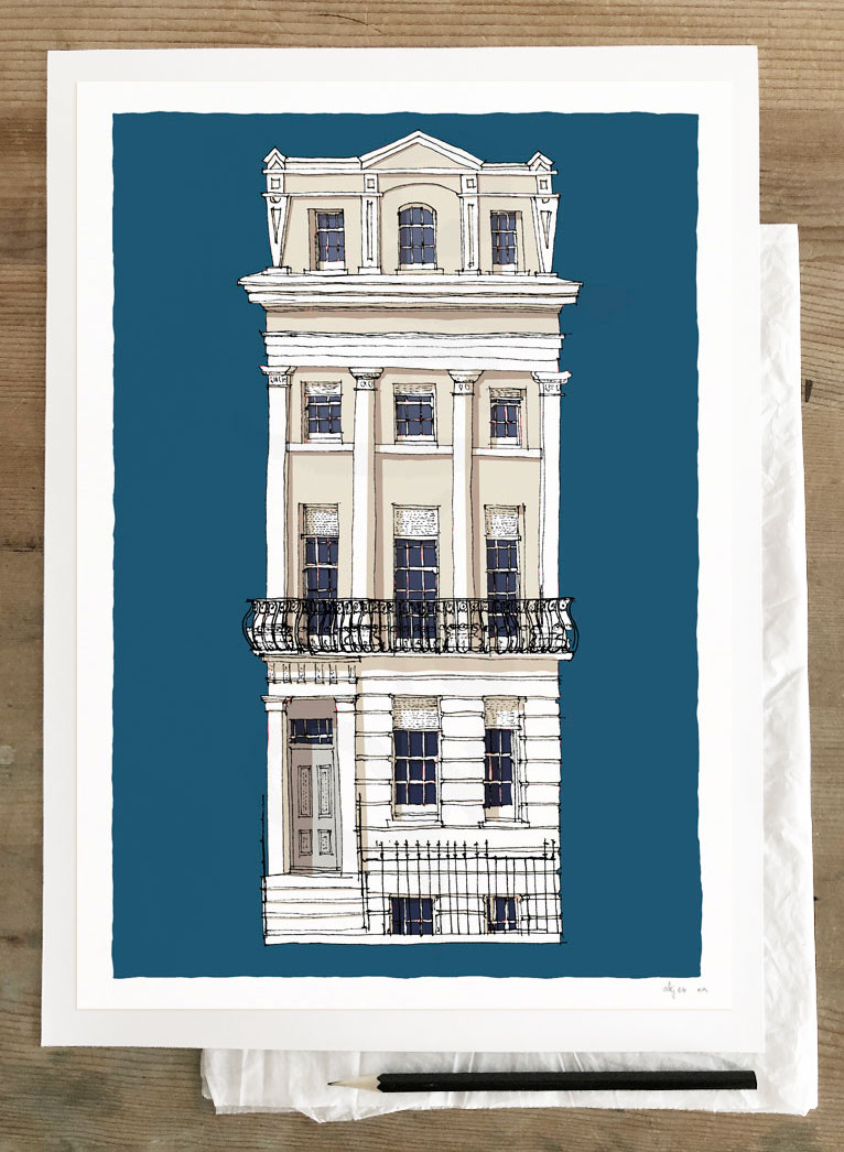 Fine art print by artist alej ez titled The Regency Town House Brunswick Square