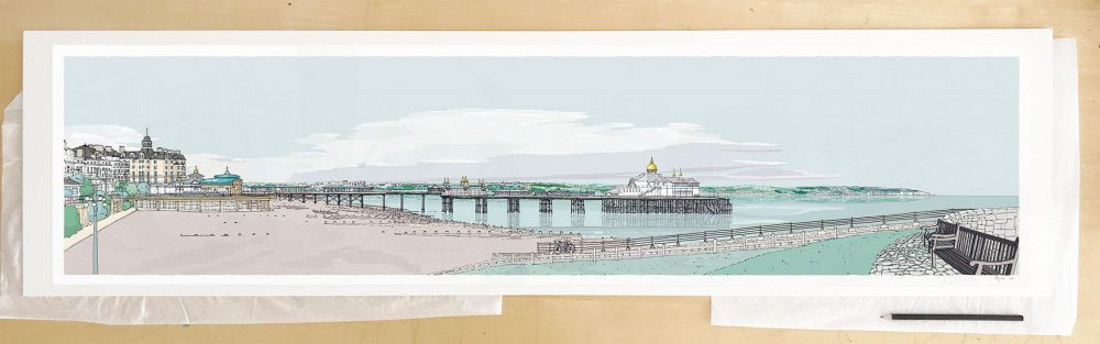 Fine art print by UK artist alej ez titled Eastbourne East Promenade Pebble Beach