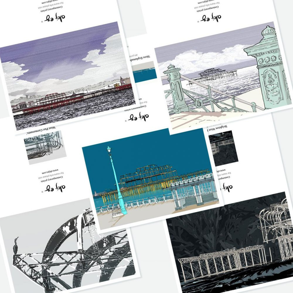 West Pier. 5 greeting cards set