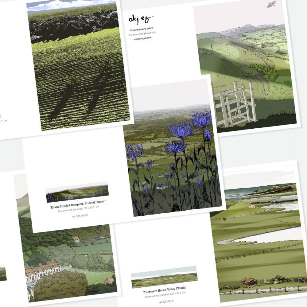 South Downs. 5 greeting cards set
