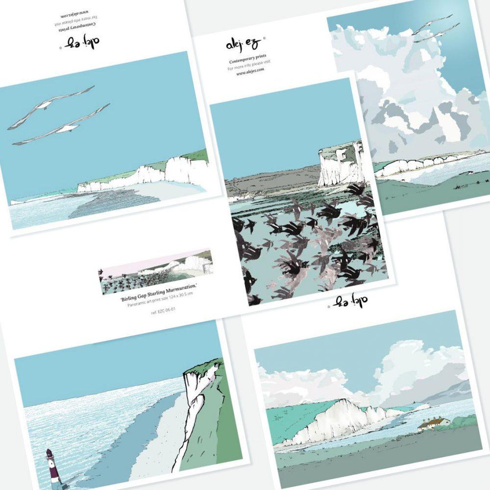 Sussex Cliffs. 5 Greeting cards set