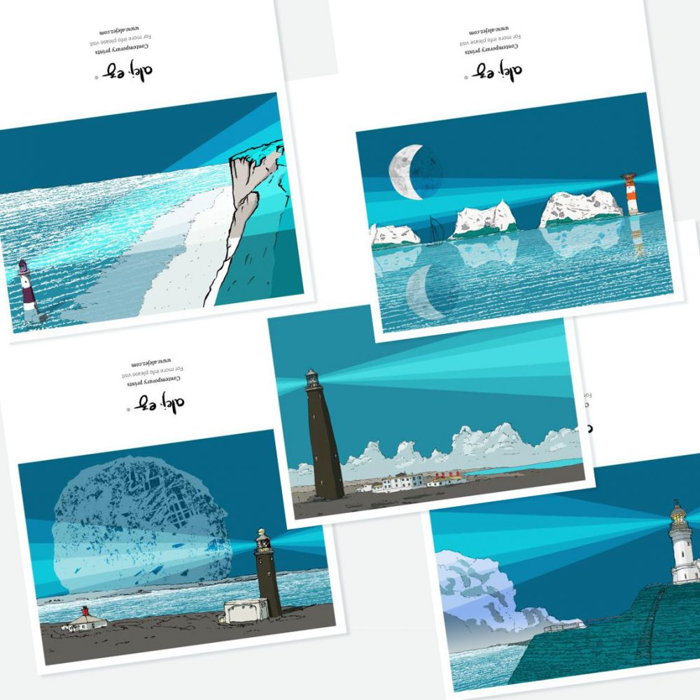 Lighthouses Reflections. 5 greeting cards set