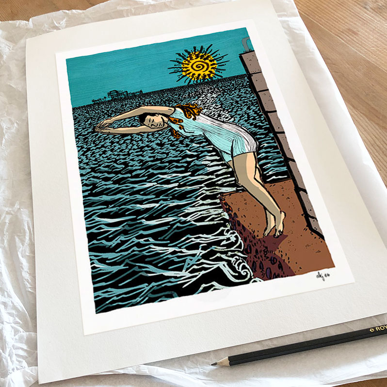 Art print titled Diving into the Sea by artist alej ez