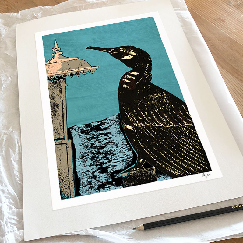 The Cormorant and the West Pier Art Print