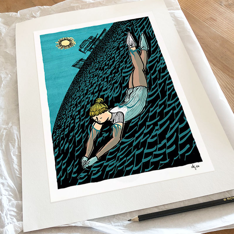 Art print titled Winter Swimming with a Woolly Hat by artist alej ez
