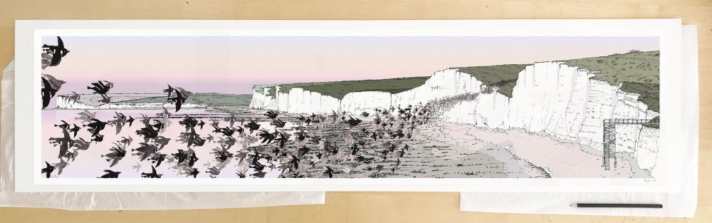 Fine art print by UK artist alej ez titled Birling Gap Starling Murmuration Eventide