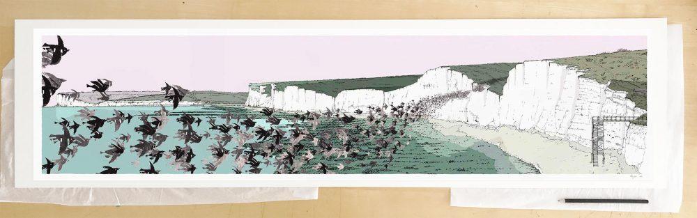 Fine art print by artist alej ez titled Birling Gap Starling Murmuration