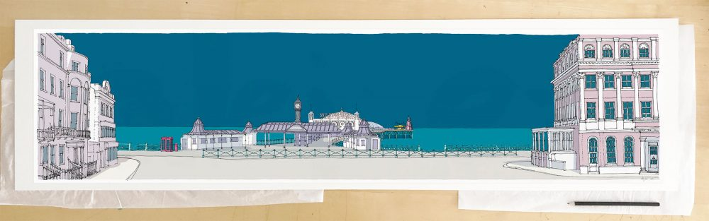 Fine art print by UK artist alej ez titled Brighton City Pier Ocean Blue