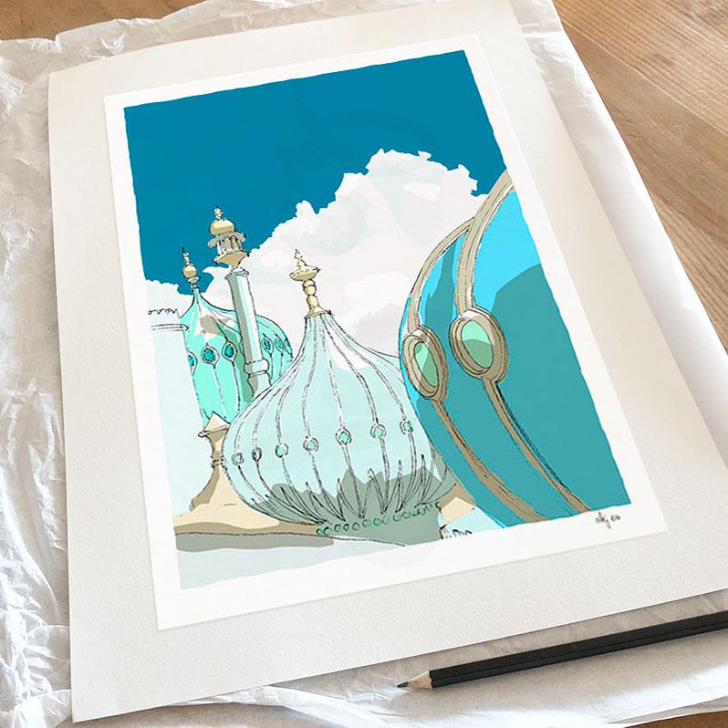 Fine art print by artist alej ez titled Brighton Pavilion Domes Ocean Blue