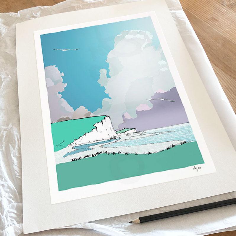Fine art print by artist alej ez titled Cuckmere Haven Chalk Cliffs
