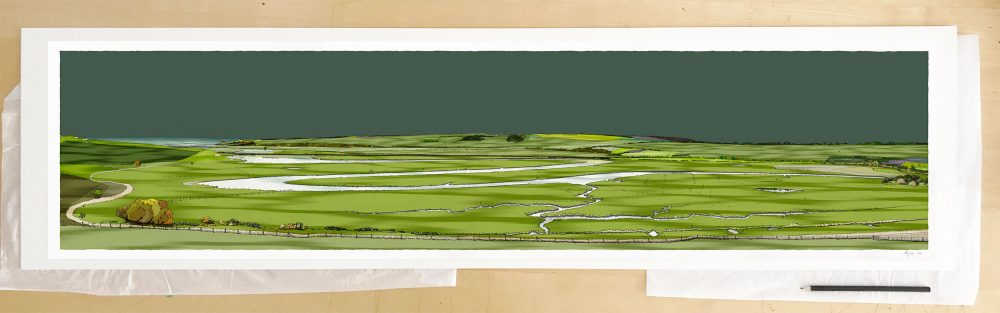 Fine art print by UK artist alej ez titled Cuckmere Haven Valley Emerald Skies