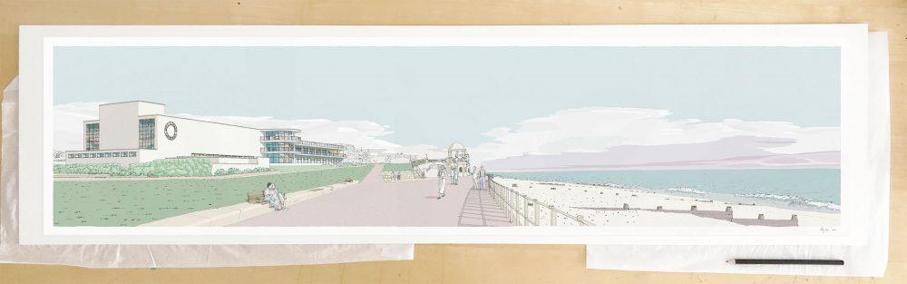 Fine art print by UK artist alej ez titled De la Warr Pavilion Bexhill on Sea Pebble Beach