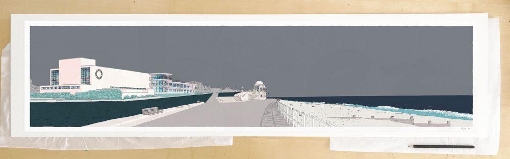 Fine art print by UK artist alej ez titled De la Warr Pavilion Bexhill on Sea Silver Grey