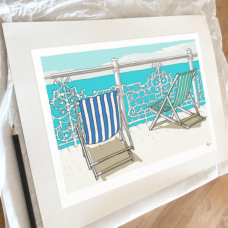 Fine art print by artist alej ez titled Deck Chairs on Deck