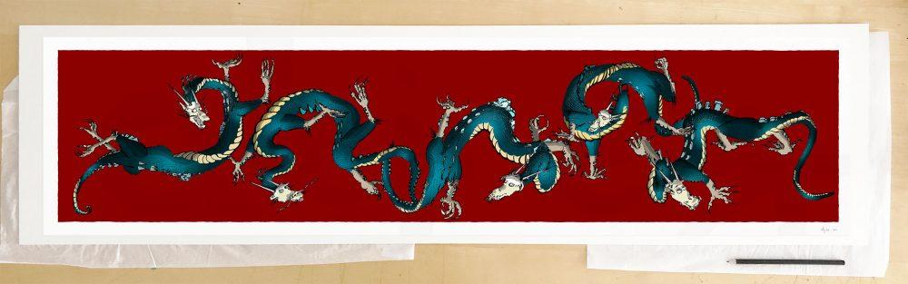 Fine art print by UK artist alej ez titled Dragons Roll Alej Ro