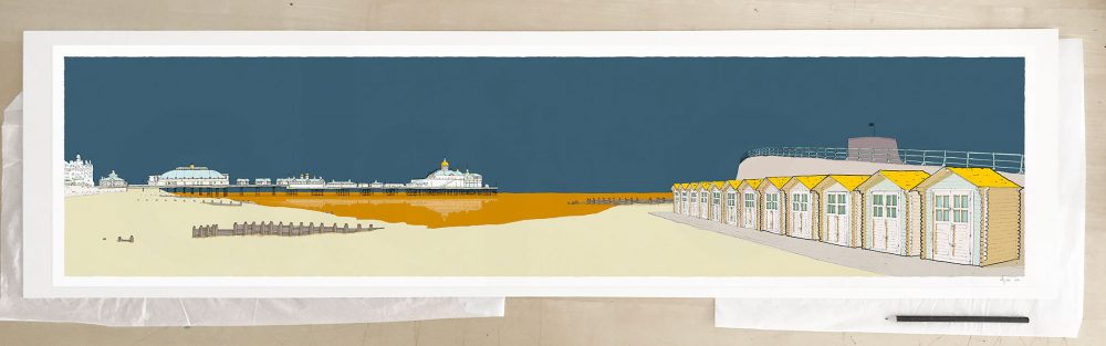 Fine art print by UK artist alej ez titled Eastbourne Pier and Huts Antique Blue and Ochre
