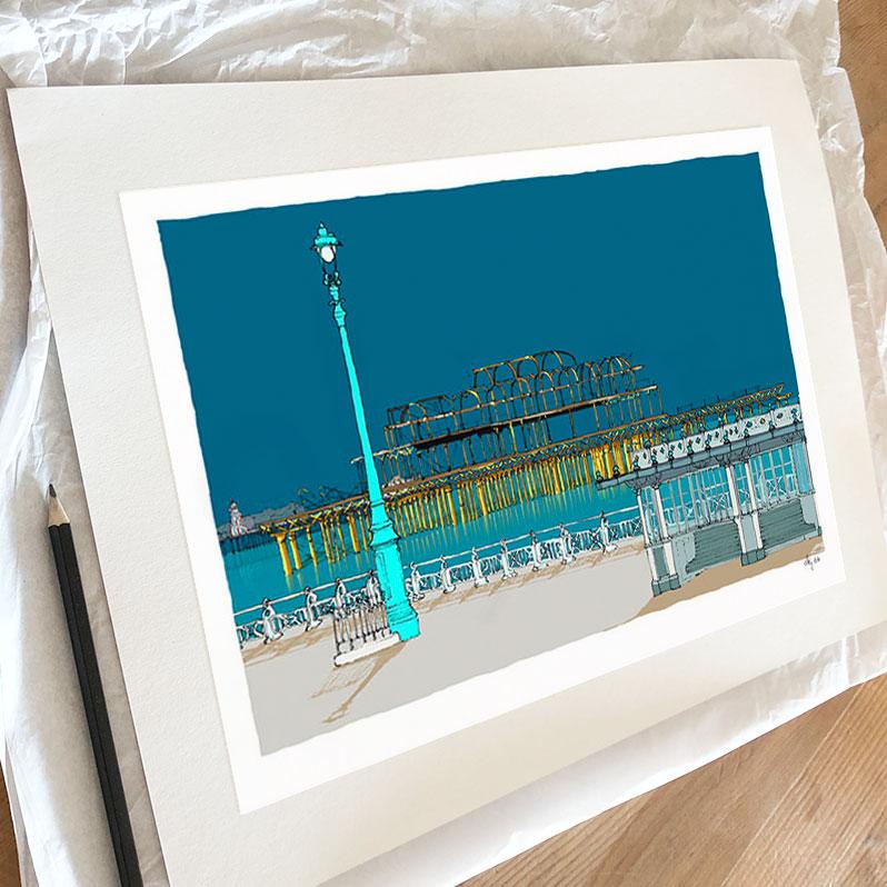 Fine art print by artist alej ez titled Hove Esplanade Two Piers Ocean Ocean Blue