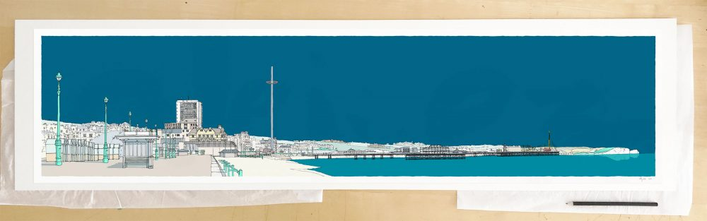 Fine art print by UK artist alej ez titled Brighton and Hove Seafront Ocean Blue