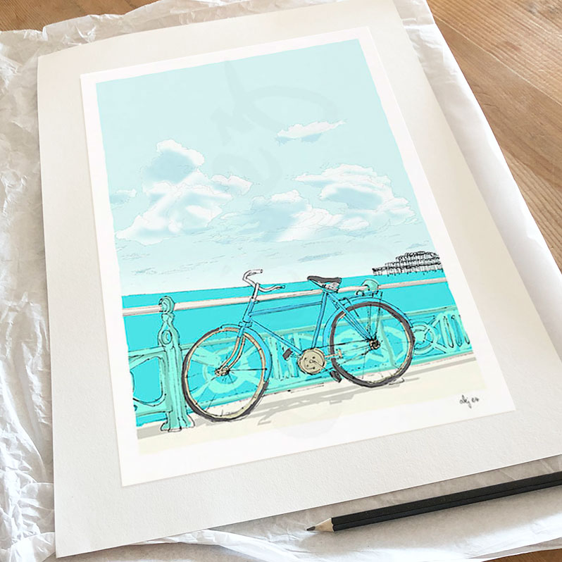 Fine art print by artist alej ez titled Indian Bicycle on the Promenade