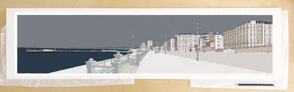 Fine art print by UK artist alej ez titled Kemptown Brighton Promenade Silver