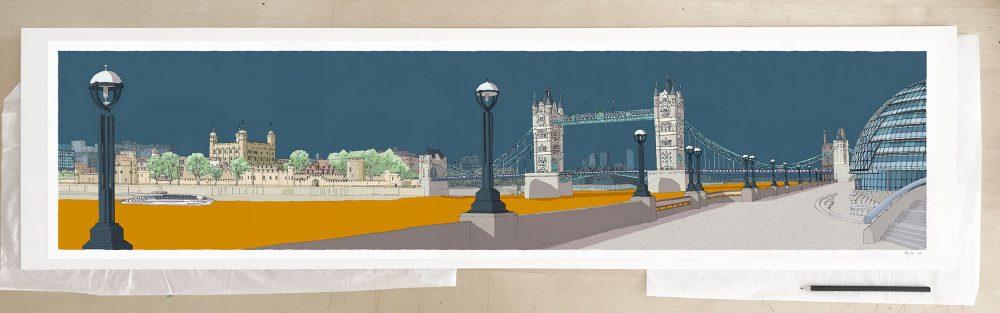 Fine art print by UK artist alej ez titled London River Thames by Tower Bridge Antique Blue and Ochre