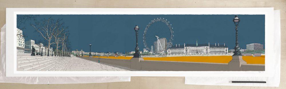 Fine art print by UK artist alej ez titled London Thames by Westminster Bridge Antique Blue and Ochre