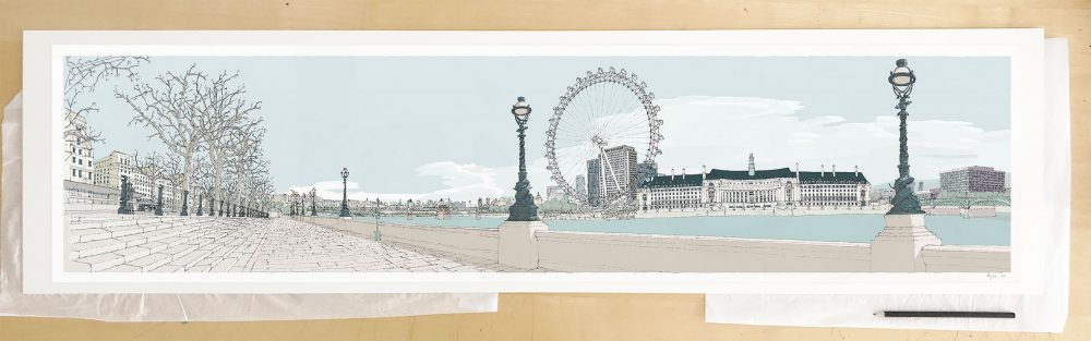 Fine art print by UK artist alej ez titled London River Thames by Westminster Bridge Pebble Beach