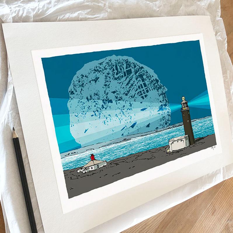 Fine art print by artist alej ez titled Lymington Lighthouse Blue Night