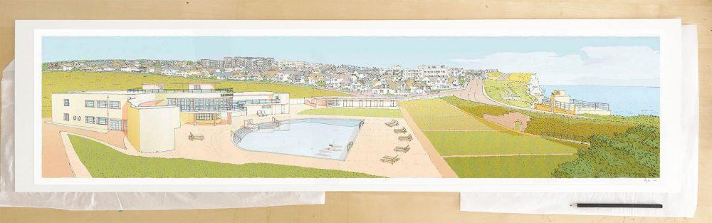 Fine art print by UK artist alej ez titled Morning Swim Saltdean Lido by the Sea