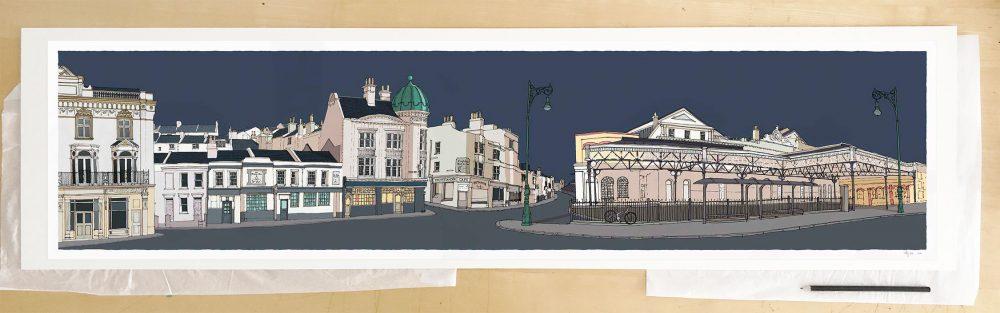 Fine art print by UK artist alej ez titled Railway Terminus Train Station Brighton
