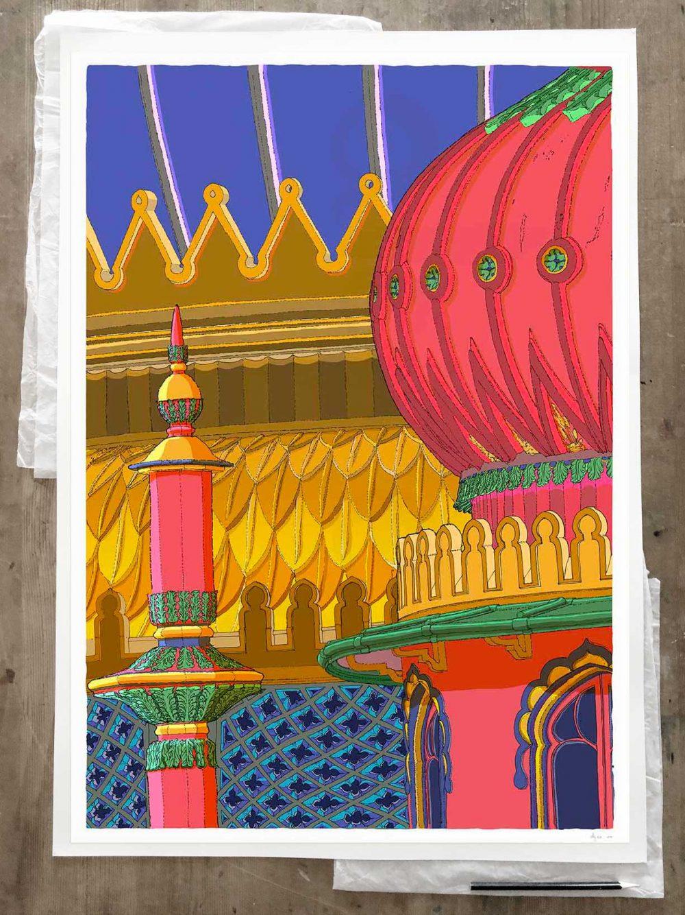 Fine art print by artist alej ez titled Regency Brighton Pavilion Finial and Domes