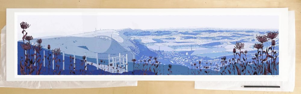 Fine art print by UK artist alej ez titled Devils Dyke Round Headed Rampion Pride of Sussex WinterDevils Dyke Round Headed Rampion Pride of Sussex Winter