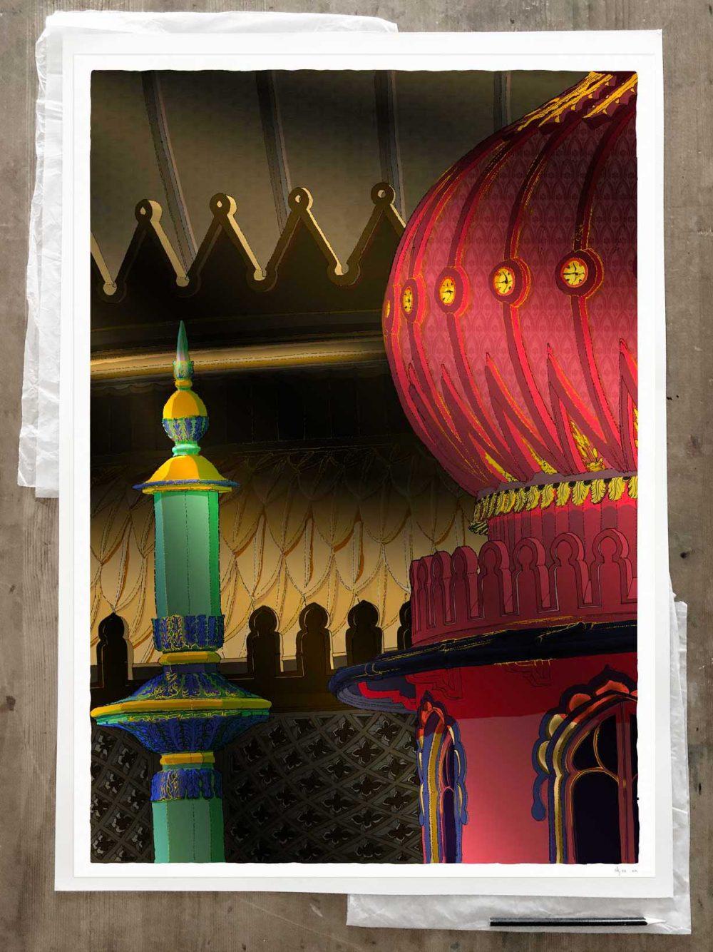 Fine art print by artist alej ez titled Brighton Pavilion Finial and Domes Regency Nights