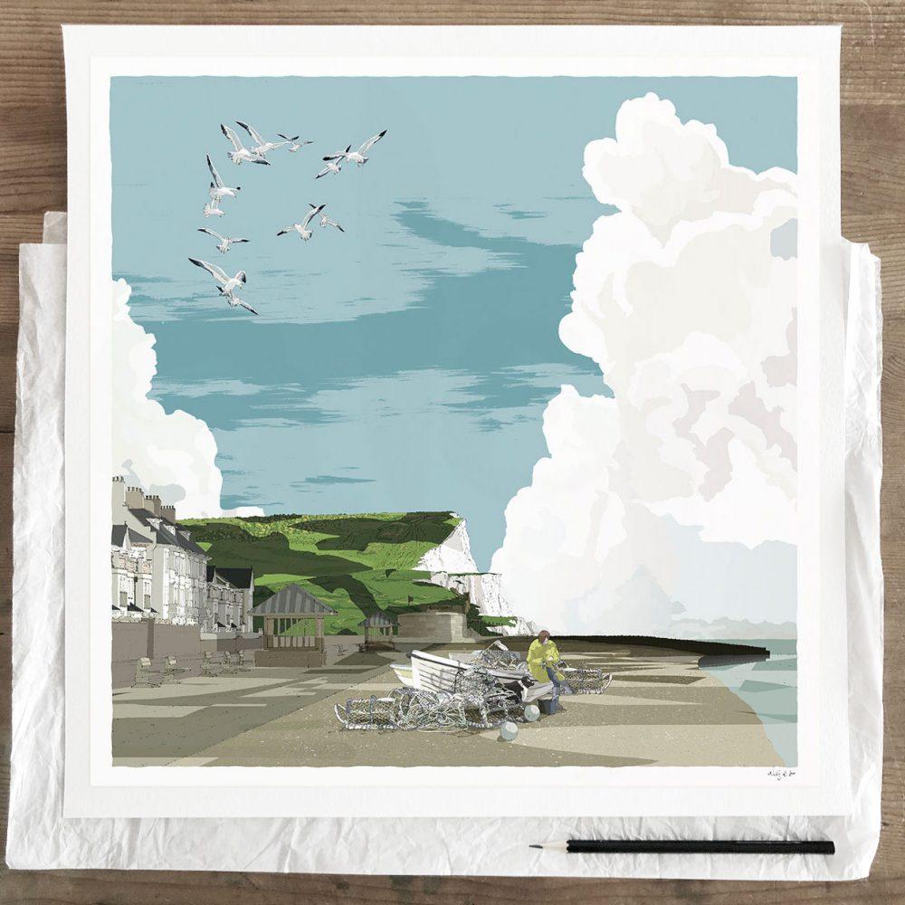 Fine art print by artist alej ez titled Seaford Head the Promenade and Fishing Boats
