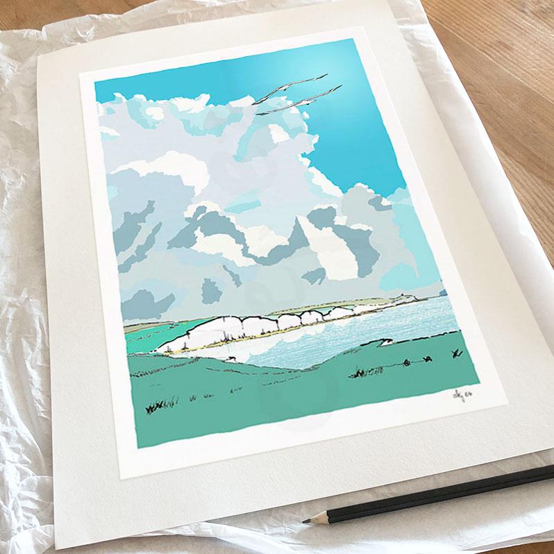 Fine art print by artist alej ez titled Seven Sisters Chalk Cliffs