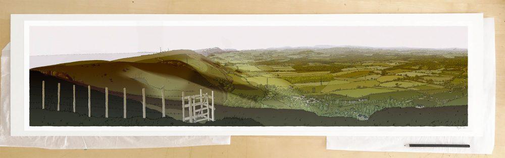 Fine art print by UK artist alej ez titled The Lark ascending. The Sussex Weald from Devils Dyke Season Fall