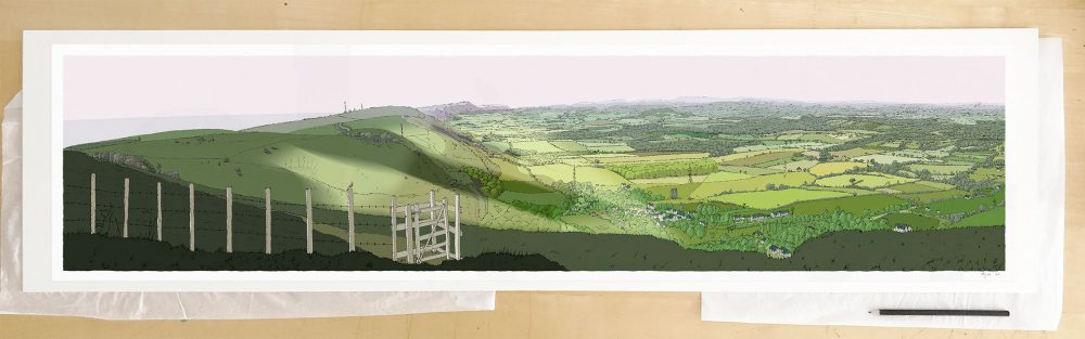 Fine art print by UK artist alej ez titled The Lark over the Sussex Weald from Devils DykeThe Lark over the Sussex Weald from Devils Dyke
