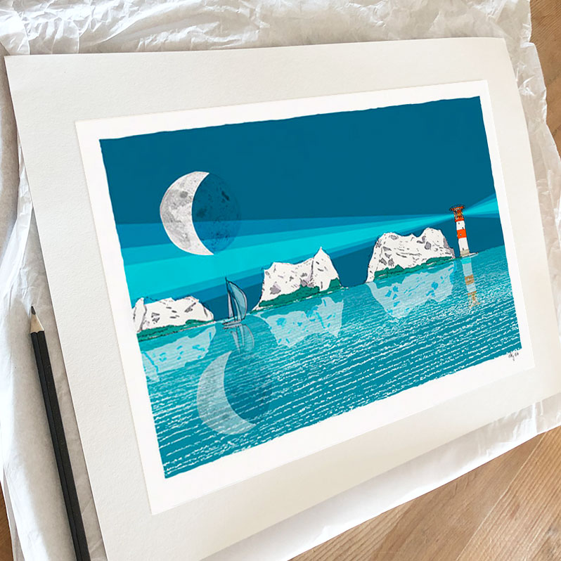 Fine art print by artist alej ez titled The Needles and the Moon Blue Night
