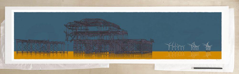 Fine art print by UK artist alej ez titled West Pier Rampion Wind Farm Antique Ochre and Blue