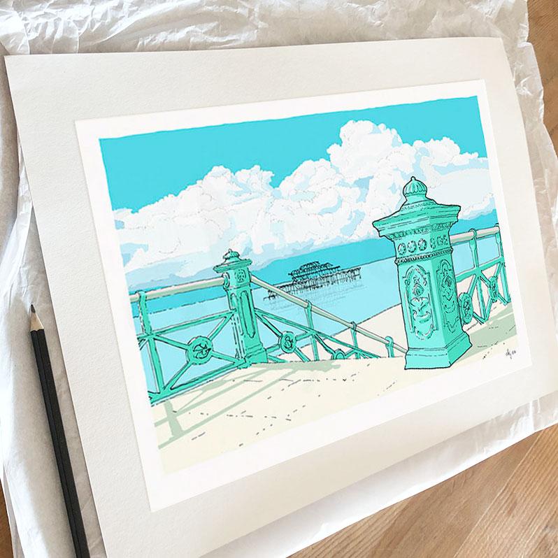 Fine art print by artist alej ez titled West Pier irons