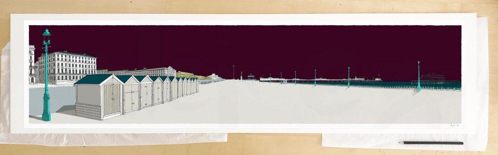Fine art print by UK artist alej ez titled Palmeira Brunswick and the Two Piers Mauve Sky Palmeira Brunswick and the Two Piers Mauve Sky