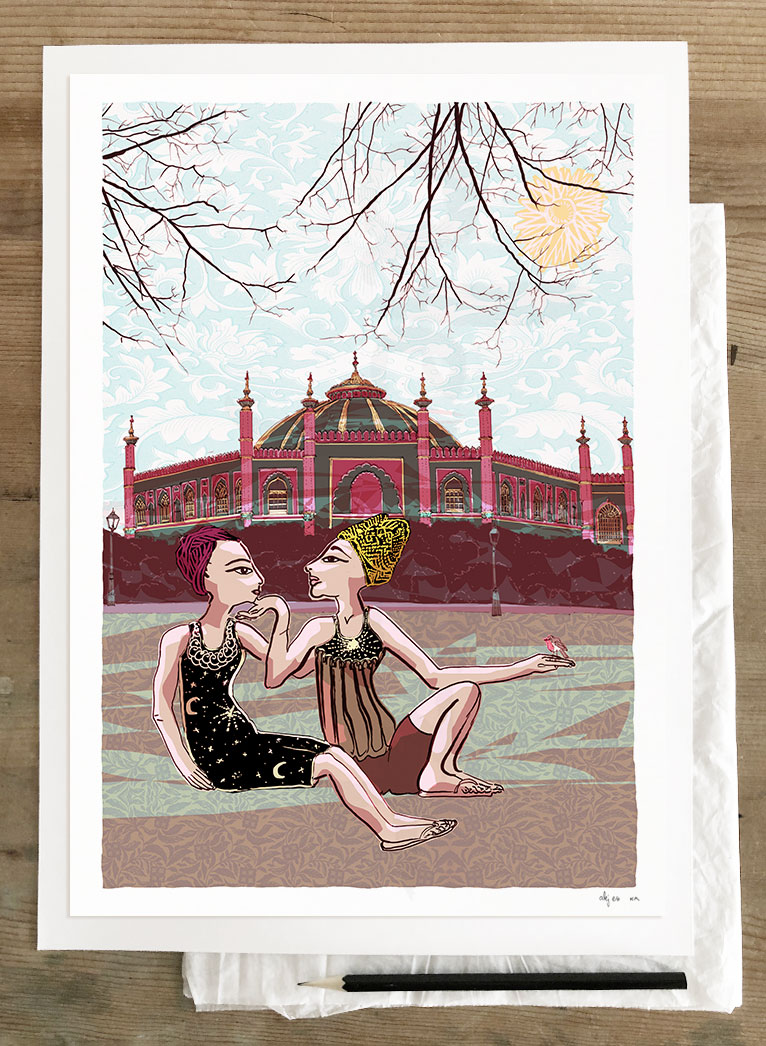 Art print by artirst alej ez titled The Red Robin at Brighton Pavilion Gardens by The Dome
