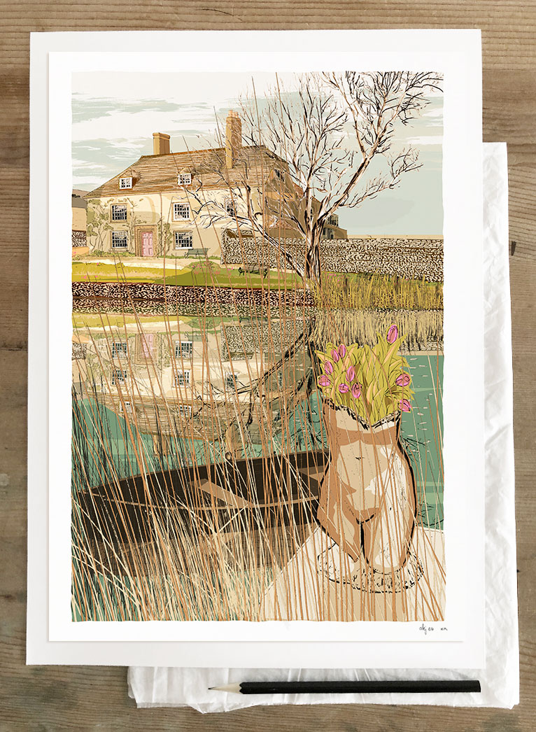Art print by artist alej ez titled Virginia Woolf's writing lodge at Monks House Rodmell