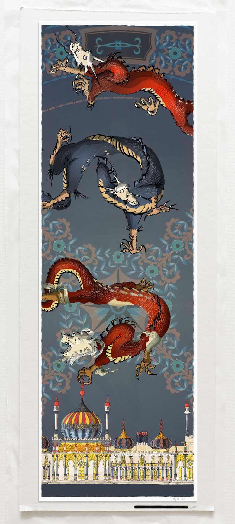 Art print by artist alej ez titled Dragon Picture Brighton Pavilion Orient Nights You