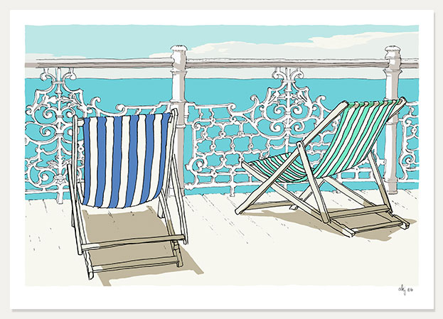 art print titled Deck chairs on deck by artist alej ez