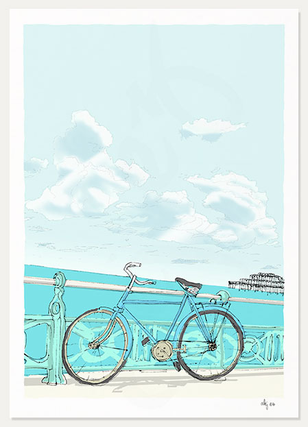 art print titled Indian Bicycle on the Promenade by artist alej ez