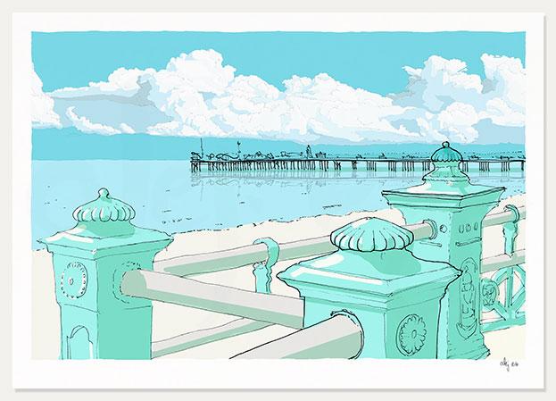 art print titled Marine Parade Brighton Pier by artist alej ez